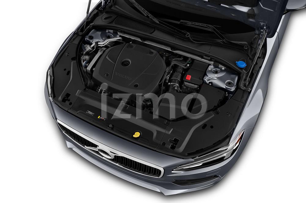 Car stock 2018 Volvo S90 Momentum 4 Door Sedan engine high angle detail view