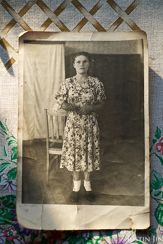 Old picture of Maria Petrivna Shovkuta, 88, a resettler at the radioactive exclusion zone at Chernobyl. <br /> <br /> 30 years on, the plant is still heavily contaminated, unfit for human life, but some villages defy government orders and returned to live inside the exclusion zone. <br /> <br /> The Chernobyl nuclear disaster happened on 26 April 1986.