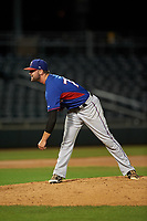 AZL Rangers relief pitcher Corey Stone (76) during an Arizona League game against the AZL Athletics Gold on July 15, 2019 at Hohokam Stadium in Mesa, Arizona. The AZL Athletics Gold defeated the AZL Rangers 9-8 in 11 innings. (Zachary Lucy/Four Seam Images)