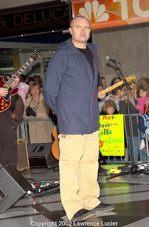 NEW YORK-NOVEMBER 15: Recording artist Phil Collins performs at the Today Show November 15, 2002, in New York City.