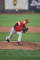Ben Morrison (16) of the Orem Owlz delivers a pitch during a game against the Ogden Raptors at Lindquist Field on August 4, 2018 in Ogden, Utah. The Owlz defeated the Raptors 15-12. (Stephen Smith/Four Seam Images)