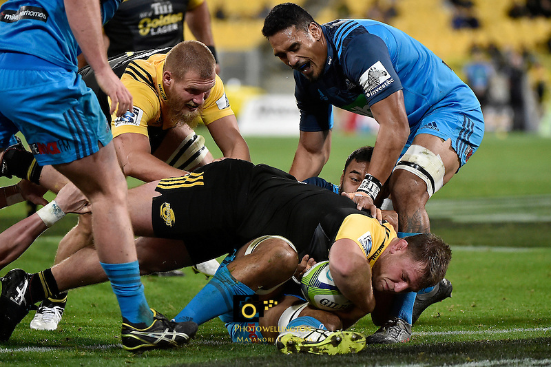 Hurricanes' Reg Goodes in action during the Super Rugby - Hurricanes v Blues at Westpac Stadium, Wellington, New Zealand on Saturday 2 July 2016. <br /> Photo by Masanori Udagawa. <br /> www.photowellington.photoshelter.com.