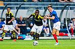 Solna 2014-07-24 Fotboll Europa League AIK - Linfield FC :  <br /> AIK:s Henok Goitom i kamp om bollen med Linfields Jamie Richards <br /> (Foto: Kenta J&ouml;nsson) Nyckelord:  AIK Gnaget Friends Arena Linfield LFC Europa League Kval