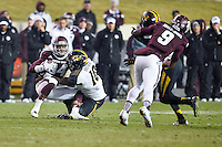 Texas A&M wide receiver Malcome Kennedy (84) is tackled by Missouri linebacker Kentrell Brothers (10) during an NCAA football game, Saturday, November 15, 2014 in College Station, Tex. Missouri defeated Texas A&M 34-27. (Mo Khursheed/TFV Media via AP Images)