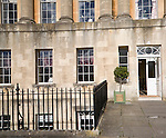 The Royal Crescent hotel entrance, architect John Wood the Younger built between 1767 and 1774, Bath, Somerset, England