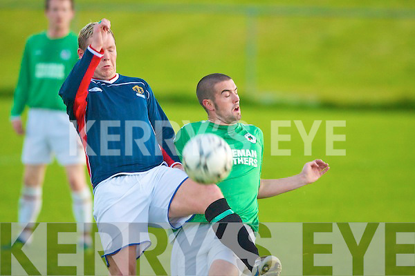 Lisselton's Anthony Glasheen and Tralee Celtic's Derek O'Connor.