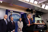 United States President Donald J. Trump speaks during a press briefing on the Coronavirus COVID-19 pandemic with members of the Coronavirus Task Force at the White House in Washington on March 19, 2020.  Pictured behind the President, from left to right: US Vice President Mike Pence, Stephen Hahn, Commissioner, US Food and Drug Administration (FDA), Dr. Deborah L. Birx, White House Coronavirus Response Coordinator, and US Surgeon General Vice Admiral (VADM) Jerome M. Adams, M.D., M.P.H.<br /> Credit: Yuri Gripas / Pool via CNP/AdMedia