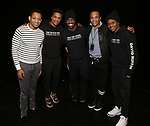 "Derrick Baskin, Jeremy Pope, Jawan M. Jackson, James Harkness and Ephraim Sykes during the Legacy Robe honoring E. Clayton Cornelious for ""Ain't Too Proud"" at the Imperial Theatre on 3/20/2019 in New York City."