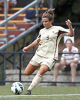 Boston College forward Stephanie McCaffrey (9) takes a shot. After two overtime periods, Boston College tied University of Central Florida, 2-2, at Newton Campus Field, September 9, 2012.