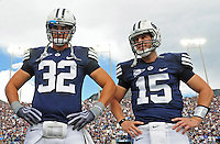Sept. 19, 2009; Provo, UT, USA; BYU Cougars tight end (32) Dennis Pitta and quarterback (15) Max Hall during the coin toss prior to the game against the Florida State Seminoles at LaVell Edwards Stadium. Florida State defeated BYU 54-28. Mandatory Credit: Mark J. Rebilas-