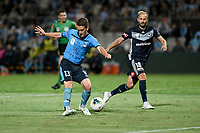 17th November 2019; Jubilee Oval, Sydney, New South Wales, Australia; A League Football, Sydney Football Club versus Melbourne Victory; Brandon O'Neill of Sydney shoots as Migjen Basha of Melbourne Victory attempts to cover