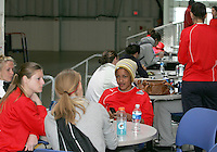 Players relax in the Discovery center after the game during Washington Freedom  practice and media event at the Maryland Soccerplex on March 25 in Boyd's, Maryland.