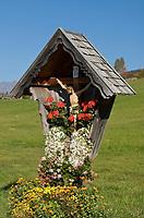 Italien, Suedtirol, Hafling: Wandergebiet oberhalb Merans, Namensgeber fuer die Haflinger Pferderasse, Bildstock auch Marterl oder Wegstock genannt   Italy, South Tyrol, Alto Adige, Avelengo: hinking area above Merano, eponym for Hafling horse breed; relic, shrine