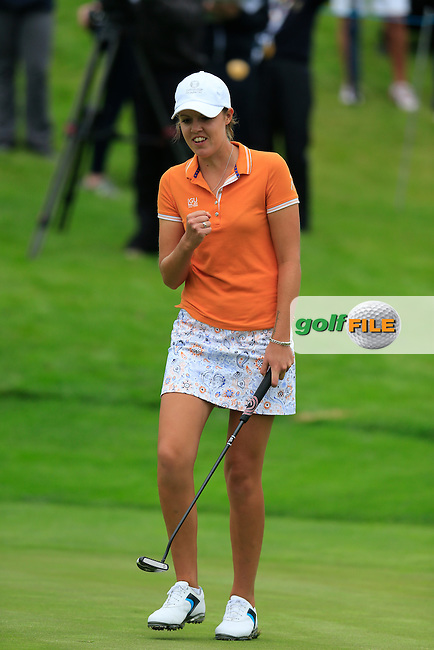 Meghan MacLaren during the Saturday morning foursomes at the 2016 Curtis cup from Dun Laoghaire Golf Club, Ballyman Rd, Enniskerry, Co. Wicklow, Ireland. 11/06/2016.<br /> Picture Fran Caffrey / Golffile.ie<br /> <br /> All photo usage must carry mandatory copyright credit (&copy; Golffile | Fran Caffrey)
