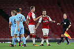 Arsenal's Jack Wilshere gets sent off after this altercation with Manchester City's Tyreke Wilson during the premier league 2 match at the Emirates Stadium, London. Picture date 21st August 2017. Picture credit should read: David Klein/Sportimage