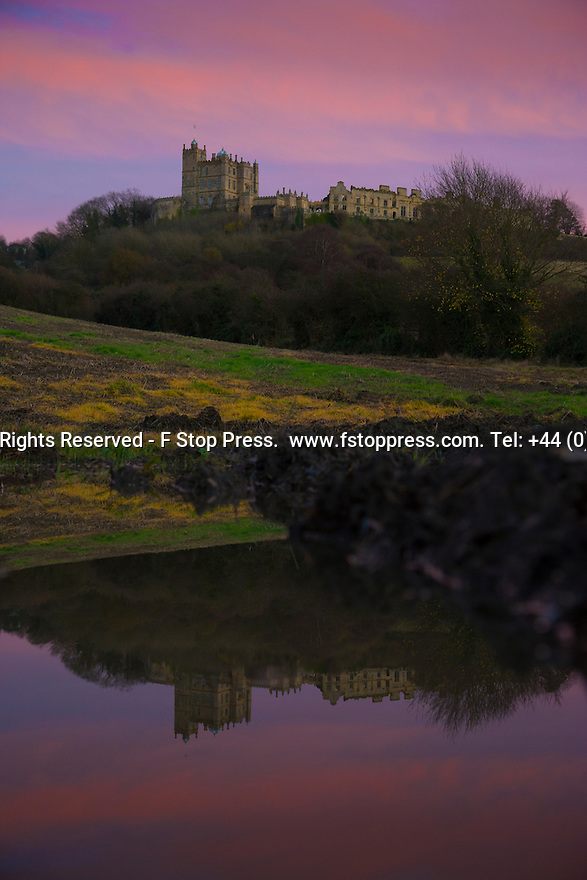 23/11/14<br /> <br /> A winter sky frames Bolsover Castle, Derbyshire, as the final light of the day gives way to forecast fog and freezing temperatures.<br /> <br /> ***ANY UK EDITORIAL PRINT USE WILL ATTRACT A MINIMUM FEE OF £130. THIS IS STRICTLY A MINIMUM. USUAL SPACE-RATES WILL APPLY TO IMAGES THAT WOULD NORMALLY ATTRACT A HIGHER FEE .  PRICE FOR WEB USE WILL BE NEGOTIATED SEPARATELY***<br /> <br /> <br /> All Rights Reserved - F Stop Press.  www.fstoppress.com. Tel: +44 (0)1335 300098