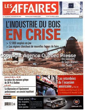 Publication  en couverture de LES AFFAIRES<br /> <br /> Photo : Pierre Roussel