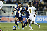 12 December 2014: Virginia's Pablo Aguilar (GUA) (8) and UMBC's Mamadou Kansaye (10). The University of Virginia Cavaliers played the University of Maryland Baltimore County Retrievers at WakeMed Stadium in Cary, North Carolina in a 2014 NCAA Division I Men's College Cup semifinal match. Virginia won the game 1-0.