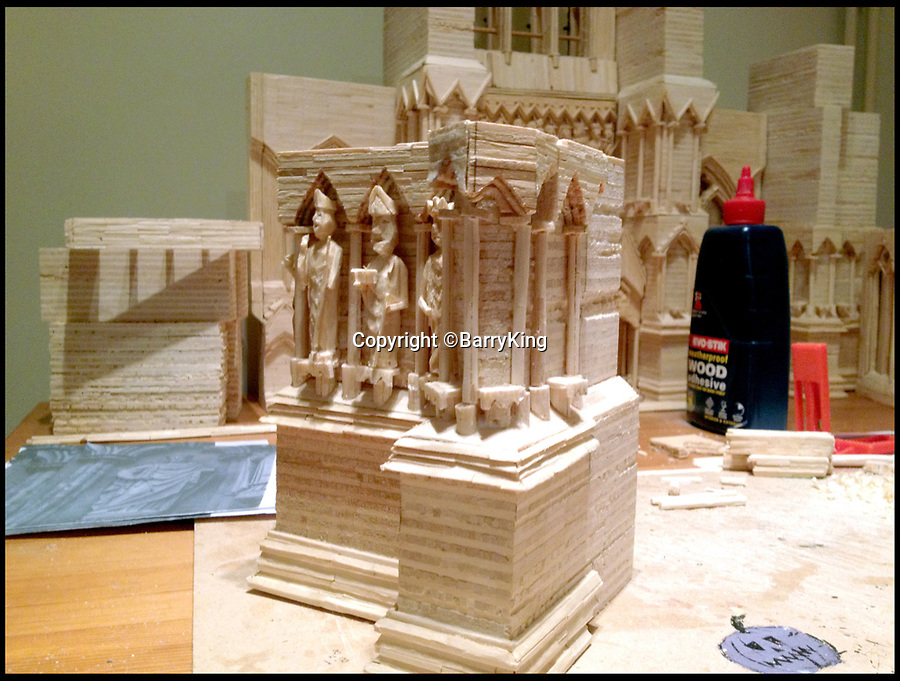 BNPS.co.uk (01202 558833)<br /> Pic:  BarryKing/BNPS<br /> <br /> The West Front of the building taking shape.<br /> <br /> Single-again Barry King has completed his stunning matchstick model of the front of Salisbury Cathedral - thanks to an old flame.<br /> <br /> Barry began the painstaking project in 2012 but downed tools when he become distracted by a long-term relationship.<br /> <br /> But after the couple split up last year, Barry resumed his hobby and completed the replica of the West Front of the Wiltshire cathedral using 730,000 matches.<br /> <br /> The stunning model will go on public display in Salisbury from August 19.