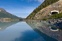 Begich Boggs visitors center, Portage lake, Portage, road to Whittier tunnel in the Chugach mountains, Alaska.