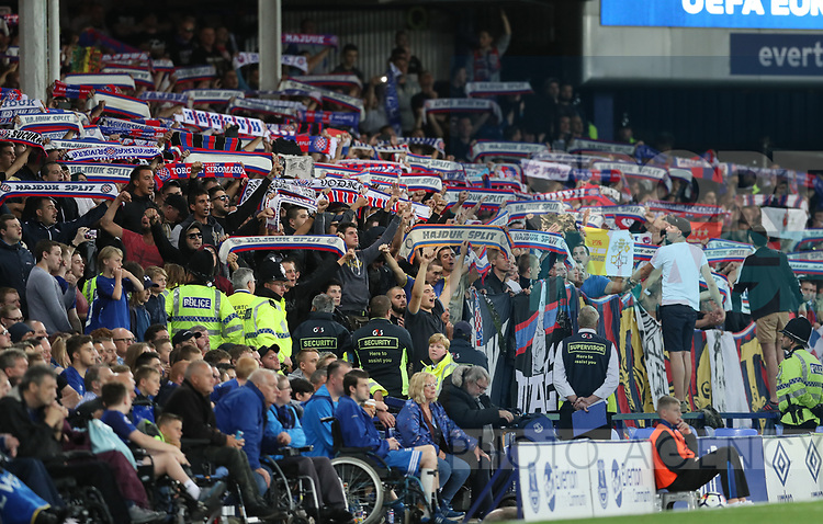 Hajduk Split fans hold up scarves during the Europa League Qualifying Play Offs 1st Leg match at Goodison Park Stadium, Liverpool. Picture date: August 17th 2017. Picture credit should read: David Klein/Sportimage