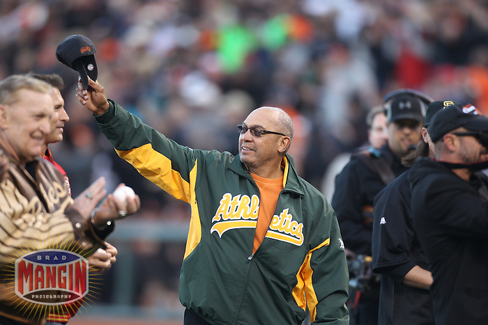 SAN FRANCISCO - APRIL 9:  Reggie Jackson waves to the fans before the game between the St. Louis Cardinals and San Francisco Giants at AT&T Park on April 9, 2011 in San Francisco, California. (Photo by Brad Mangin)