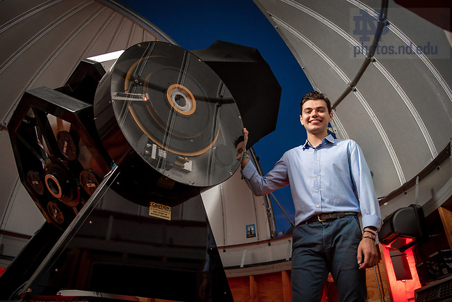 July 10, 2018;Robert Stiller, '18 with the Krizmanich telescope at Jordan Hall of Science (Photo by Matt Cashore/University of Notre Dame)