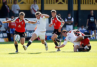 Photo: Richard Lane/Richard Lane Photography. .IRB Junior World Championship. England U20 v Canada U20. 10/06/2008. England's Luke Eves kicks ahead.