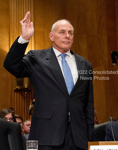 General John F. Kelly, USMC (Retired) is sworn-in to testify before the United States Senate Committee on Homeland Security and Governmental Affairs confirmation hearing on his nomination to be Secretary, US Department of Homeland Security on Capitol Hill in Washington, DC on Tuesday, January 10, 2017.<br /> Credit: Ron Sachs / CNP