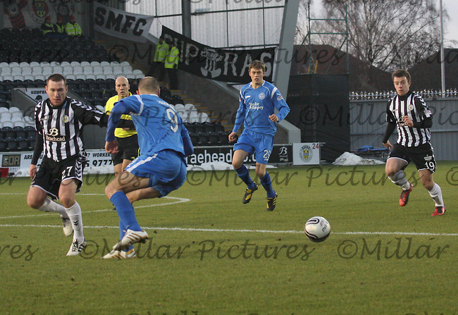 Sam Parkin waiting to get the ball watched by Patrick Cregg