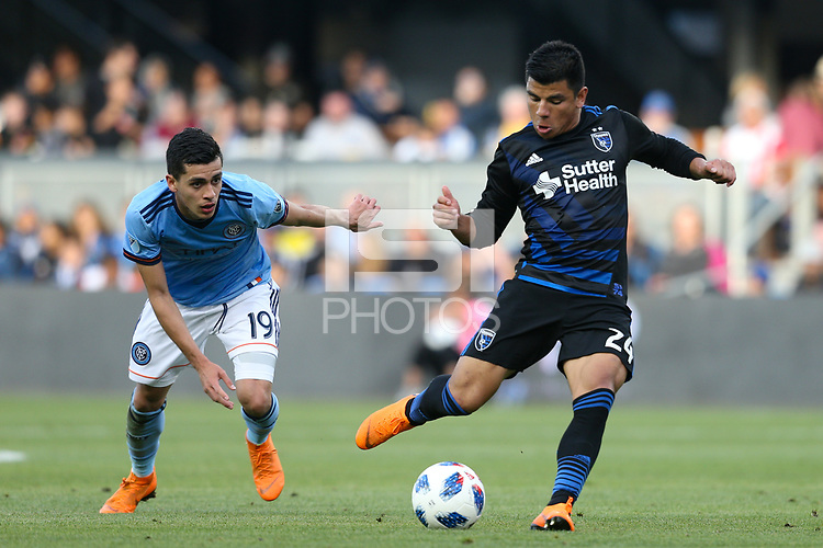 San Jose, CA - Saturday March 31, 2018: Nick Lima during a Major League Soccer (MLS) match between the San Jose Earthquakes and New York City FC at Avaya Stadium.