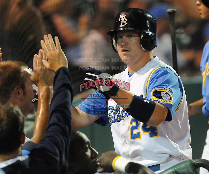July 11, 2008: Infielder Eric Campbell (24) of the Myrtle Beach Pelicans, Class A affiliate of the Atlanta Braves, in a game against the Salem Avalanche at BB&T Coastal Field in Myrtle Beach, S.C. Photo by:  Tom Priddy/Four Seam Image