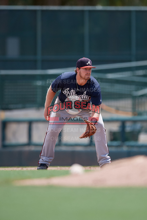 GCL Braves first baseman Mason Berne (20) during a Gulf Coast League game against the GCL Orioles on August 5, 2019 at Ed Smith Stadium in Sarasota, Florida.  GCL Orioles defeated the GCL Braves 4-3 in the second game of a doubleheader.  (Mike Janes/Four Seam Images)