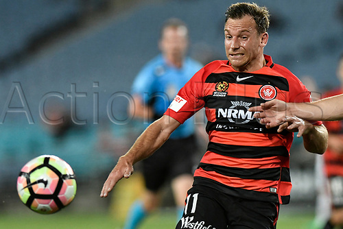 April 8th 2017, ANZ Stadium, Sydney, Australia; A-League football, Western Sydney Wanderers versus Melbourne Victory; Wanderers forward Brendon Santalab competes for the ball; The match  ended in a 0-0 draw;
