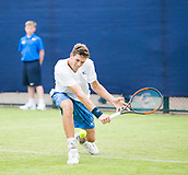 June 10th 2017,  Nottingham, England; ATP Aegon Nottingham Open Tennis Tournament day 1; Backhand from Neil Pauffley of Great Britain in his match against Lloyd Glasspool of Great Britain