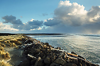 Storm clouds over Pacific Ocean at South Jetty, Fort Stevens State Park, Oregon Coast, USA