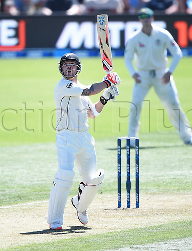 20.02.2016. Christchurch, New Zealand.  Brendon McCullum hits a massive 6. New Zealand Black Caps versus Australia. Day 1, 2nd test match, Hagley Oval in Christchurch, New Zealand. Saturday 20 February 2016.
