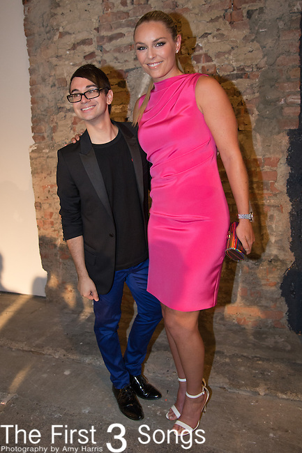 Designer Christian Siriano (L) and professional ski racer Lindsey Vonn pose backstage at the Christian Siriano fashion show during Mercedes-Benz Fashion Week Spring 2015 at Eyebeam on September 6, 2014 in New York City.