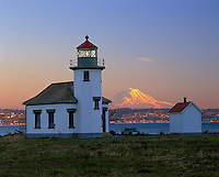 Vashon Island, WA            <br /> Point Robinson lighthouse on Puget Sound with sunset light on Mount Rainier