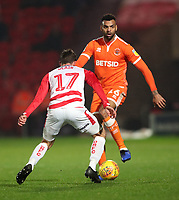 Blackpool's Curtis Tilt and Doncaster Rovers' Matty Blair<br /> <br /> Photographer Rachel Holborn/CameraSport<br /> <br /> The EFL Sky Bet League One - Doncaster Rovers v Blackpool - Tuesday 27th November 2018 - Keepmoat Stadium - Doncaster<br /> <br /> World Copyright &copy; 2018 CameraSport. All rights reserved. 43 Linden Ave. Countesthorpe. Leicester. England. LE8 5PG - Tel: +44 (0) 116 277 4147 - admin@camerasport.com - www.camerasport.com