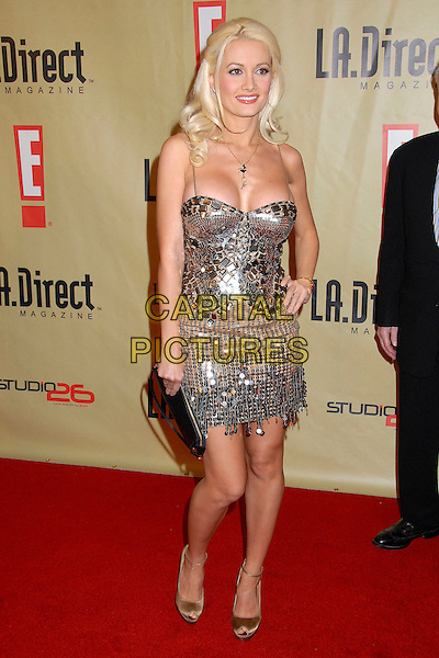 "HOLLY MADISON.""Remember To Give"" 2007 Holiday Party at Les Deux, Hollywood, California,  USA, 13 December 2007..Full length silver beaded dress hand on hip necklace clutch bag .CAP/ADM/BP.©Byron Purvis/AdMedia/Capital Pictures."