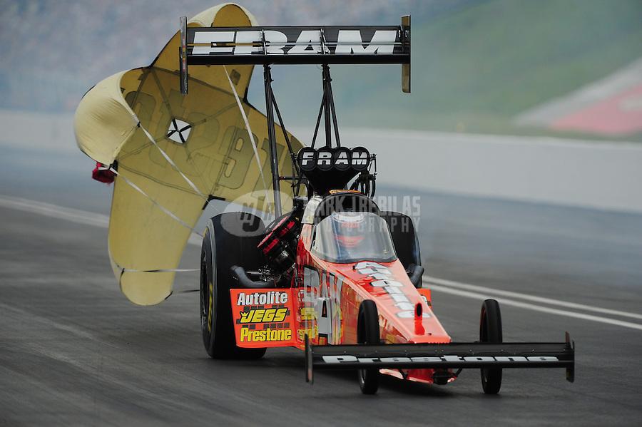 Jun. 18, 2011; Bristol, TN, USA: NHRA top fuel dragster driver Spencer Massey during qualifying for the Thunder Valley Nationals at Bristol Dragway. Mandatory Credit: Mark J. Rebilas-