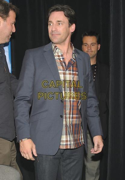 "JON HAMM .""The Town"" Press Conference - 2010 Toronto International Film Festival held at the Hyatt Regency, Toronto, Ontario, Canada, USA, .10th September 2010..half length plaid tartan shirt grey gray blazer jacket .CAP/ADM/BPC.©Brent Perniac/AdMedia/Capital Pictures."