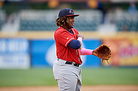 New Hampshire Fisher Cats third baseman Vladimir Guerrero Jr. (27) during the first game of a doubleheader against the Harrisburg Senators on May 13, 2018 at FNB Field in Harrisburg, Pennsylvania.  New Hampshire defeated Harrisburg 6-1.  (Mike Janes/Four Seam Images)