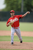 Cincinnati Reds pitcher Brennan Bernardino (44) during an Instructional League game against the Milwaukee Brewers on October 6, 2014 at Maryvale Baseball Park Training Complex in Phoenix, Arizona.  (Mike Janes/Four Seam Images)