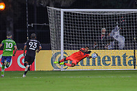 10th July 2020, Orlando, Florida, USA;  San Jose Earthquakes goalkeeper Daniel Vega (17) saves a shot on goal during the soccer match between the Seattle Sounders and the San Jose Earthquakes on July 10, 2020, at ESPN Wide World of Sports Complex in Orlando, FL.