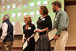 Dr. Darlene Berryman, Dr. Erin Murphy, and Dr. Edward List onstage after recieving their John J. Kopchick Molecular and Cellular Biology Translational Biomedical Sciences Faculty Support Fund award in Nelson Commons on Saturday, November 14, 2015. Photo by Kaitlin Owens