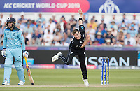 Matt Henry (New Zealand) bowls as Jason Roy (England) backs up during England vs New Zealand, ICC World Cup Cricket at The Riverside Ground on 3rd July 2019