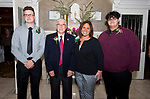 WATERTOWN, CT-052218JS31--Scholarship recipient Noah Fitzgerald with board of director member Dr. Carmine Paolino; scholarship committee member Dawn Maiorano and scholarship recipient Connor Sullivan, at the 96th annual scholarship awards for graduating seniors of Italian-American heritage sponsored by the Waterbury Chapter of UNICO National held at the Grand Oak Villa in Watertown. <br /> Jim Shannon Republican American