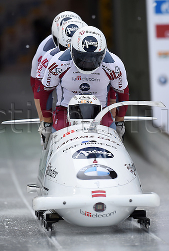 28.02.2016. Koenigssee, Germany.  Latvian bobbers Oskars Melbardis, Daumants Dreiskens, Arvis Vilkaste, and Janis Strengatake off during the Bobsled World Cup in Koenigssee, Germany, 28 February 2016.